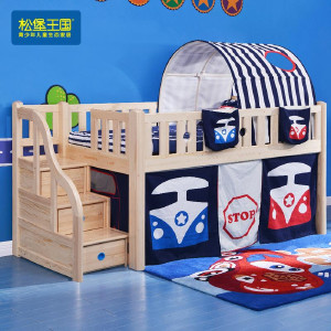 松堡王国 儿童实木储物1.0米单人城堡床 经典系列 经典系列 C102