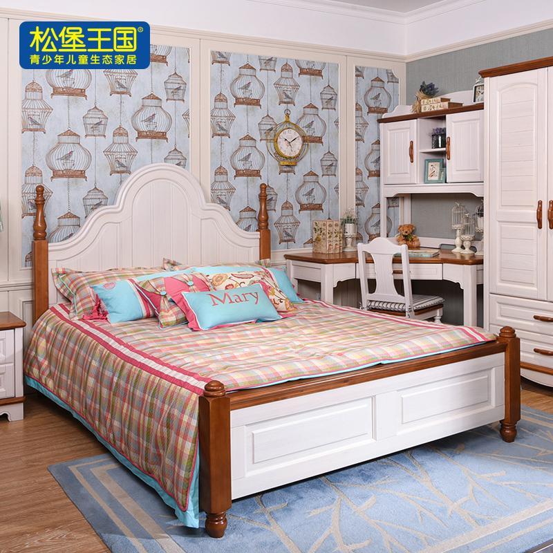 松堡王国 儿童床实木床单人床松木全实木女孩床公主床 经典系列 北美系列 BC001