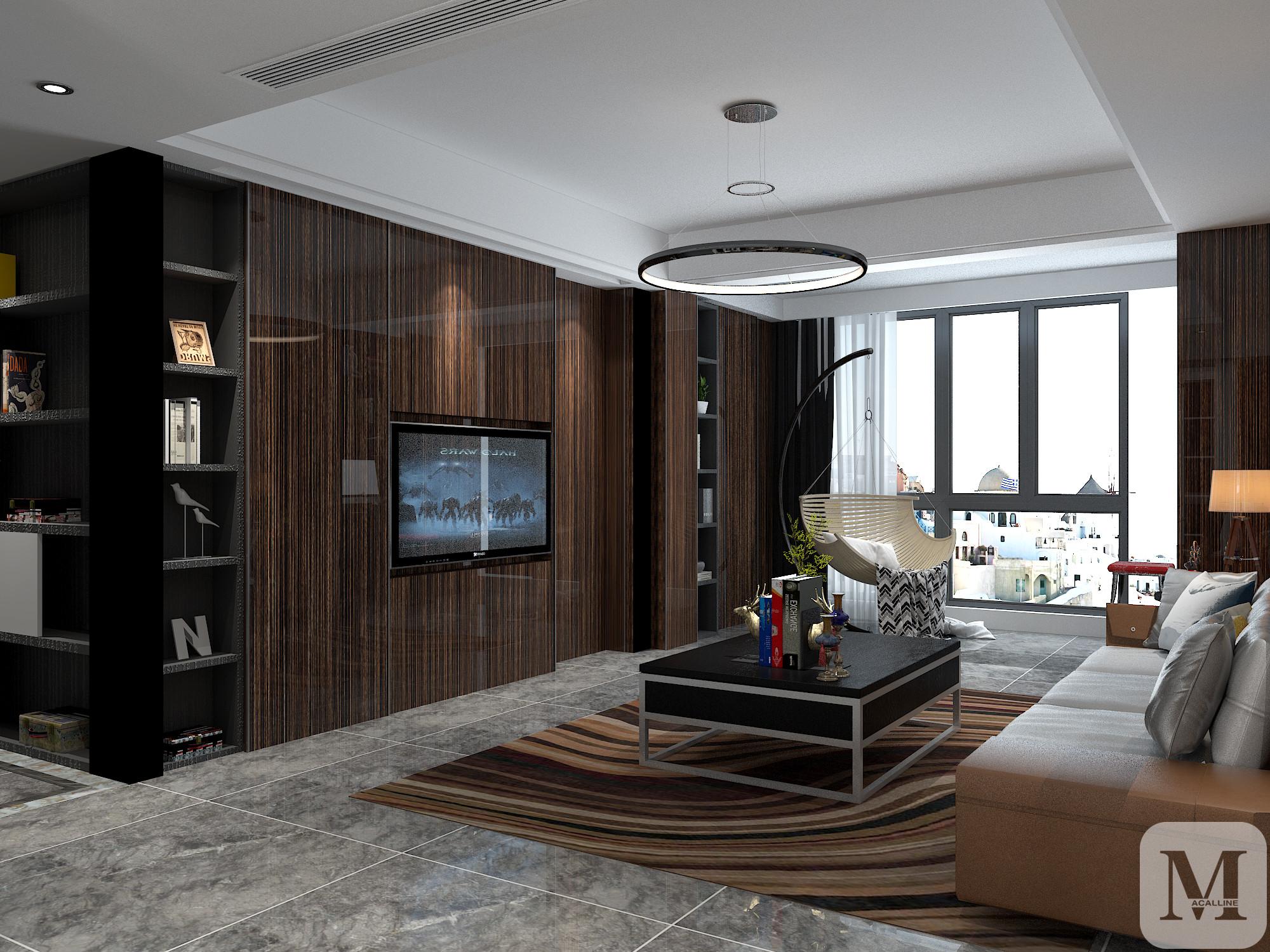 后现代黑白灰纯净风格_简约三房 设计装修案例图-衡阳