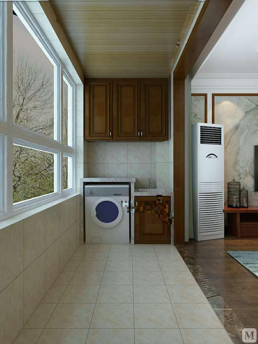 中式阳台窗帘装修效果图