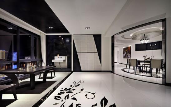 黑与白现代简约四室两厅