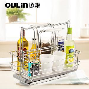 欧琳 厨房橱柜拉篮 可提取式收纳篮 调味拉篮阻尼厨柜拉篮 现代简约 OL-TML