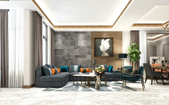 灰色+木色,看似清淡,实着豪宅