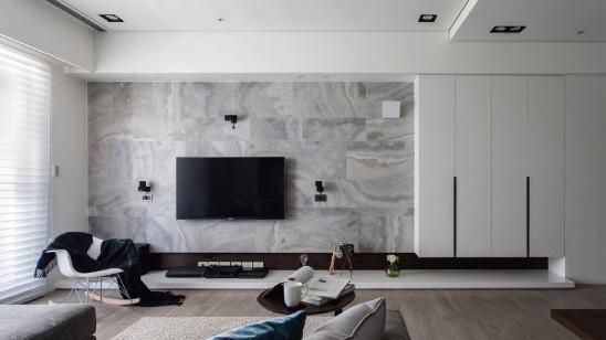 玄关柜延伸至电视墙,实用又美观