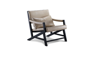 美日居 休闲单椅 实木框架结构,简洁大方,坐、背以及扶手处细腻的缝合工艺不仅凸显质感,更带来良好触感。 MJ-003