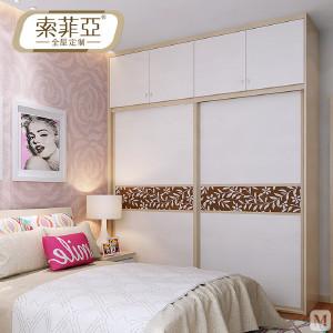 索菲亚 衣柜 现代简约 索菲亚全屋定制 咖啡米兰带顶柜