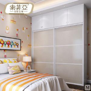 索菲亚 衣柜 现代简约 索菲亚全屋定制 均三格带顶柜衣柜