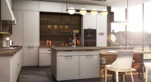 我乐 厨柜 设计灵感来自于瑞士的巴塞尔城,将湿润温暖的的地中海气候静谧蔚蓝的莱茵河颇具特色的色彩混搭建筑元素融入 巴塞尔