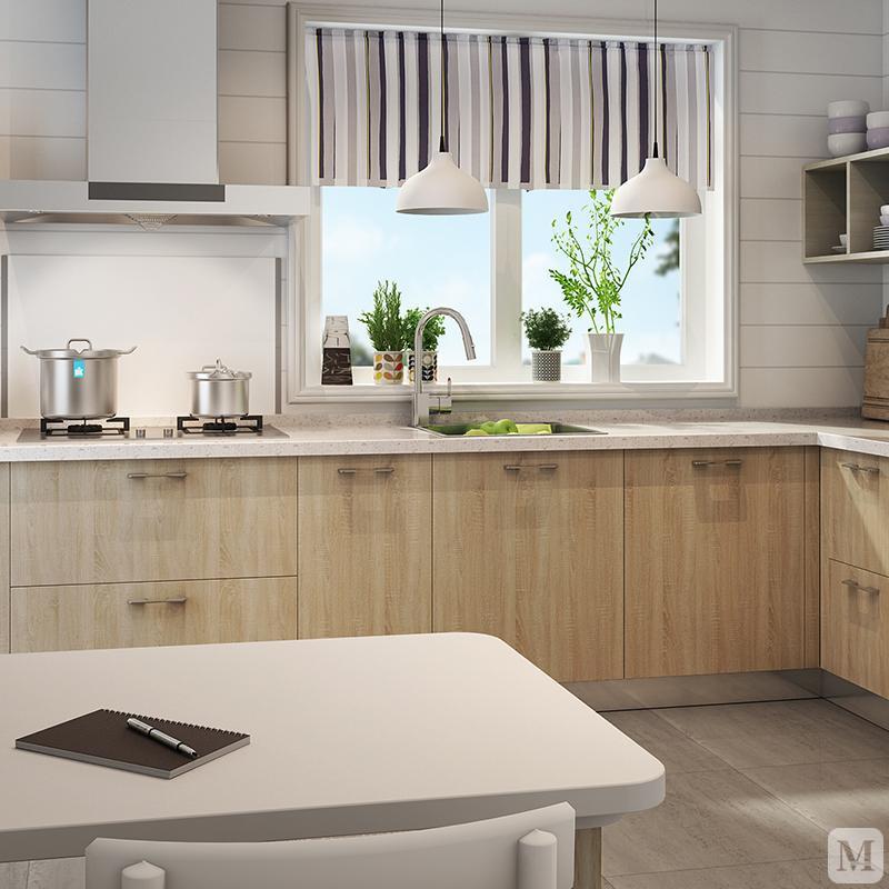 志邦 IK全屋定制 梦想厨房 现代简约 整体橱柜定制 IK1系 一字型 现代简约 IK