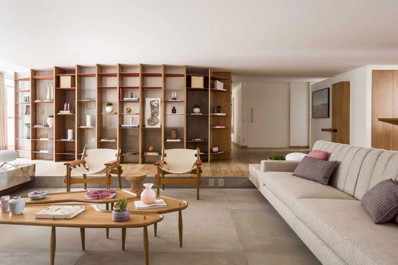 380㎡大平层设计,下沉式客厅显大气,书架围合成书房超个性!