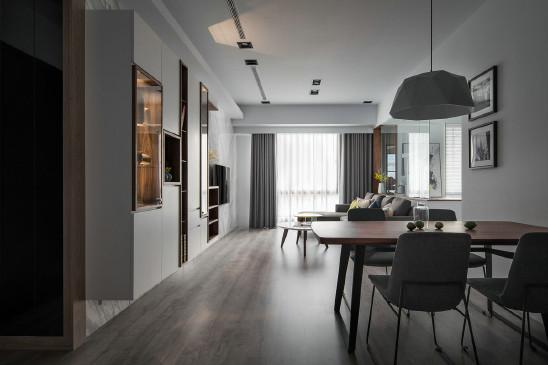 95m²简约风两室,黑灰色的沉稳低奢