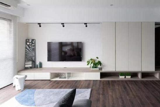 109㎡现代简雅,客厅比较长,挤个小书房