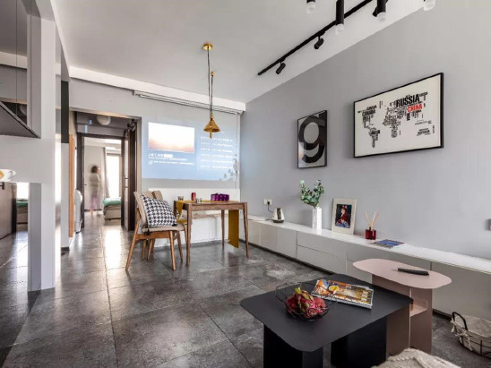 51㎡现代黑白灰,不分客厅与餐厅,这样布