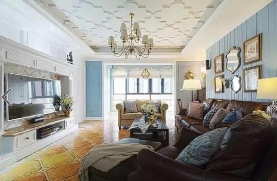 143㎡四室新房,蓝色背景墙,花纹吊顶