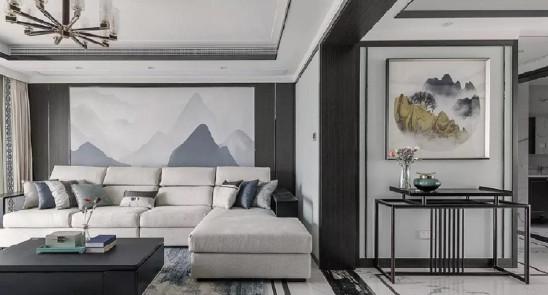 160㎡新中式,背景墙装隐形门,高级大气