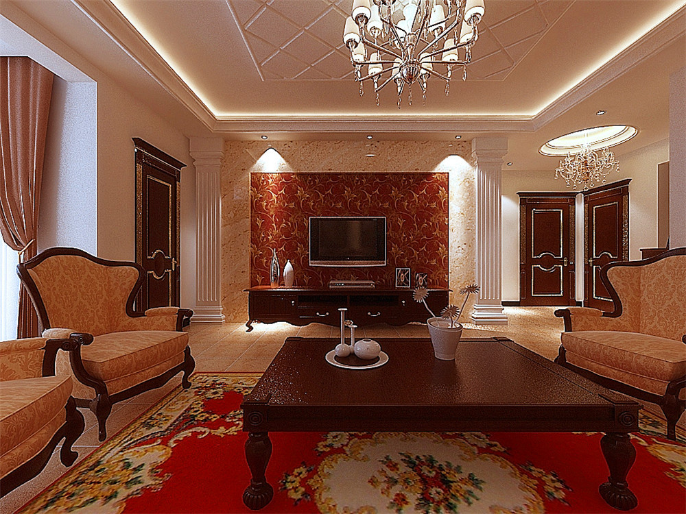 高贵典雅复古风96㎡北欧风格二居室7万