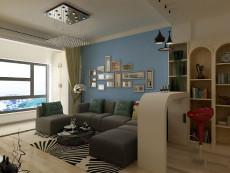 蓝色蜜月88㎡现代简约二居室9.4万