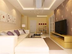 暖色调90㎡现代简约二居室7万
