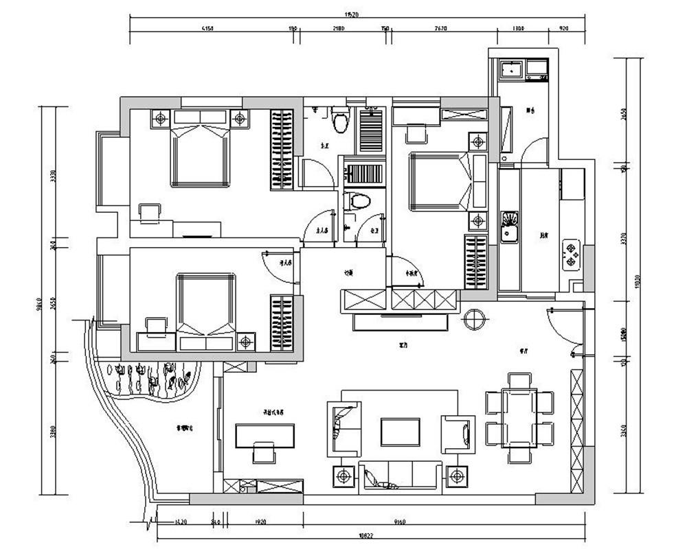 伊顿洋房118㎡新中风三居室12万