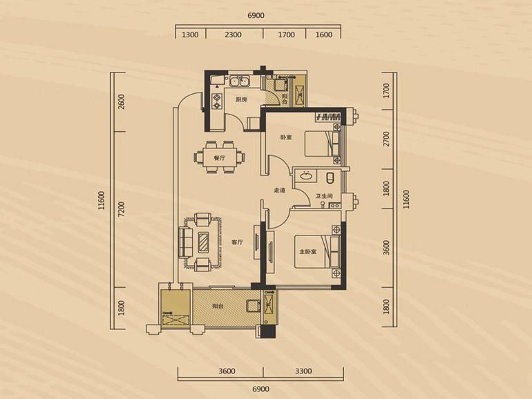长房半岛蓝湾80㎡北欧风格二居室7.1万