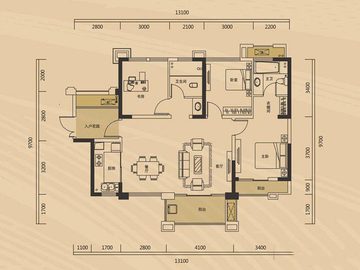长房半岛蓝湾117㎡新中风三居室10.6万