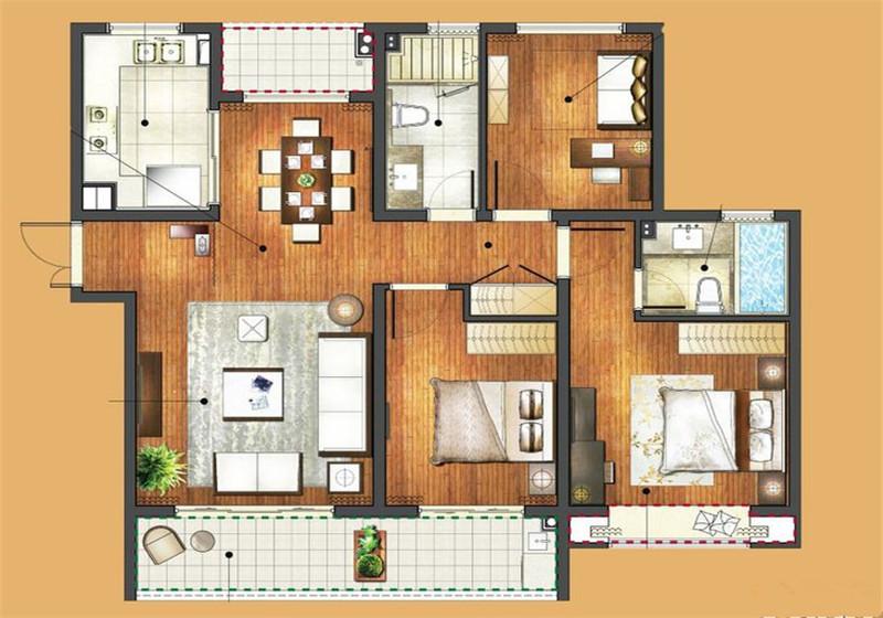 中房颐园132㎡北欧风格三居室17万