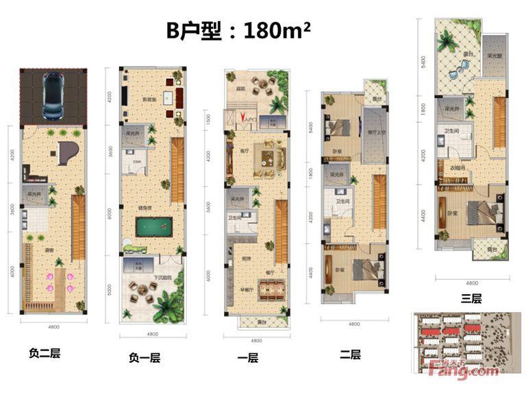 中国院子228㎡北欧风格四居室60万
