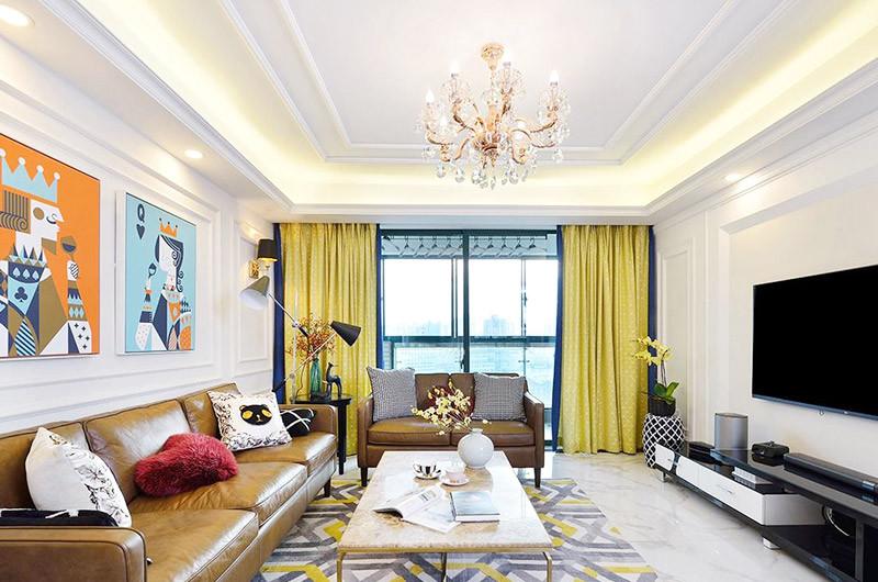 撞色轻质感120㎡混搭风格三居室7.2万