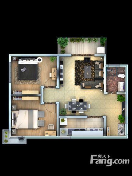 子午美居89㎡现代简约二居室6万